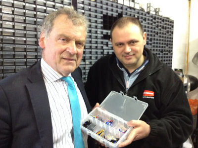Glyn Davis MP with Gary Robinson, the Managing Director of GWR Fasteners.