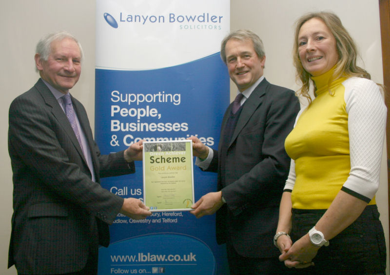 Peter Flint, senior partner, Lanyon Bowdler, Owen Paterson MP and Mandy Stoker, director, E4environment.