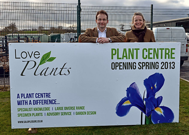 Love Plants manager Jillian Redman with Salop Leisure's managing director Mark Bebb.
