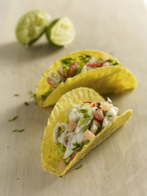 Florida grapefruit and seabass ceviche tacos