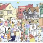 A cartoon illustration of the Festival by Will Dawbarn (Wilbur).