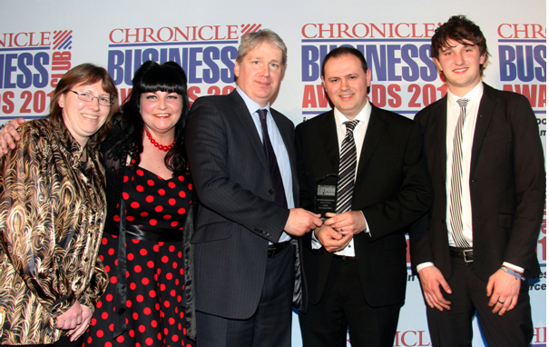 Jacqui Cooper, Jude Robinson (Creative Director), Jon Ollier (of Turner Peachey Accountants who sponsored the Award), Gary Robinson (Managing Director) and Griff Griffiths