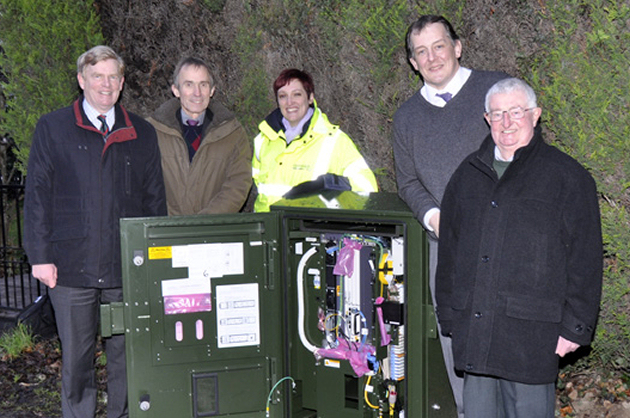 High-speed fibre broadband is switched on at a roadside cabinet in Shrewsbury.