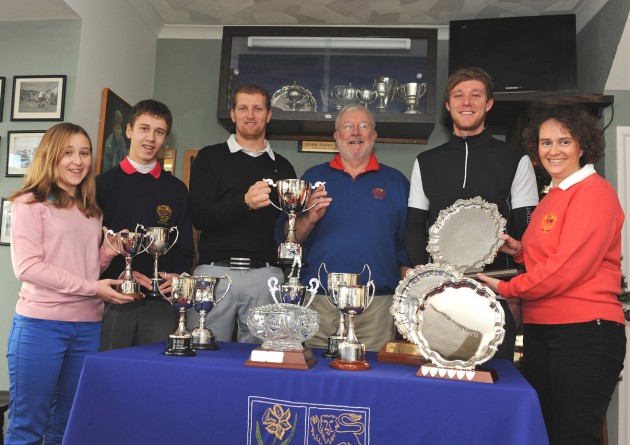 Pictured with the trophies are, from left, Libby Weetman, Tom Weetman, James Hampson, Jim Larby, Tom King and Anne Weetman.