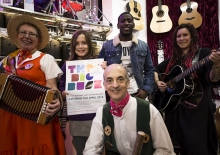 Artists sign up for Big Busk: Julia Finch - Shrewsbury Morris, Susannah Smith - St George's Junior School, Leo Golden Child - Rap artist, Nikki Rous - Singer / songwriter and Graydon Radford - Shrewsbury Morris (front).