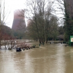 Flooding at Dale End in Ironbridge. Photo: Mark McCreddin / Lightmoor Life.