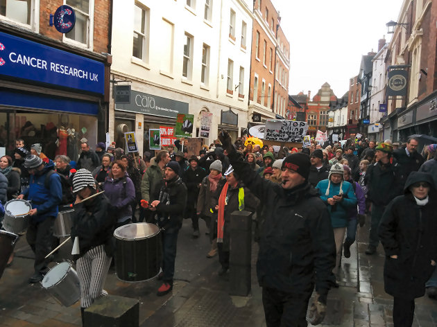 The march makes its way along High Street in Shrewsbury.