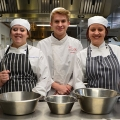 Catering students Kimberley Comer, Liam Argyle and Grace Brooks.