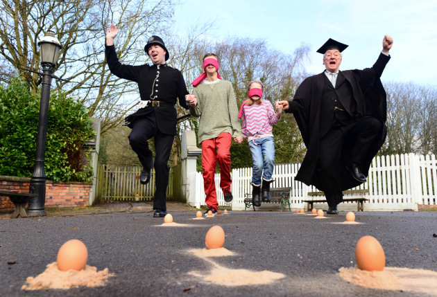 Blists Hill Victorian Town egg dancing whilst blind folded.