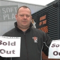 Telford Tigers General Manager Paul Thomason, getting ready with the sold out signs.