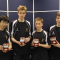 The winning Shrewsbury School team at the English Indoor Rowing Championships.
