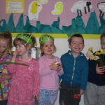 Children at ABC Day with their daffodils.