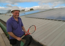 The Shrewsbury Club's maintenance manager Ian Hoy views the new solar panels on the roof of the family friendly health club and indoor tennis centre which has over 3,000 local members.