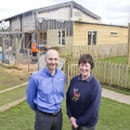 Matt Breakwell, Sales Director of Cornbrook Construction, with Julie Nicholls, of Rays Farm, outside the barn.