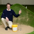 Tim Shrosbree in the bunker at Shrosbree Indoor Golf and Performance Centre.