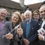 At the launch of the pen at Shakespeare's birthplace in Stratford-on-Avon are John Hall of pen manufacturers Omas; Diana Owen, Philippa Rawlinson, Stanley Wells and Sue Croxford of the Shakespeare Birthplace Trust and Luca Baglione from Omas.