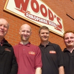 Edward Wood with new head brewer Andrew Pinnock, new sales manager James Owens and new assistant brewer Sam Lane.