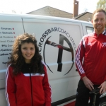 Shrewsbury cyclist Beth Coupland, already part of Crossbar's Fantastic Five, with Gavin Cowan, the director of Crossbar Coaching.