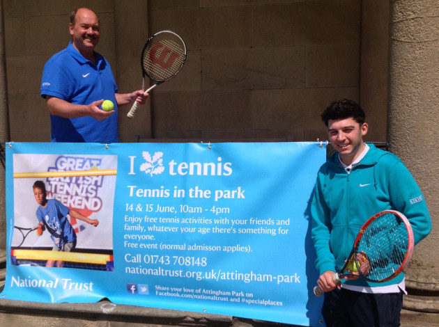 Chris Hinks, left, chairman of Tennis Shropshire, and Jack Redfern, regional tennis services assistant for Midland Tennis, get ready for Tennis in the Park at Attingham Park on June 14 and 15.