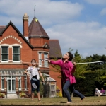 Children carry on the tradition of playing sport on the lawn at Sunnycroft. Photo: National Trust.