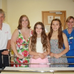Pictured are (from left): Jim Mostyn, Director of Sport at Wrekin College; Dr Gill Townson, Consultant Gastroenterologist; Ella Townson, 12; Holly Townson, 14; and Sue Critchley, Staff Nurse in Endoscopy.