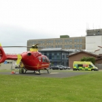 The Midlands Air Ambulance on the helipad at the RSH. Photo: SaTH NHS Trust.