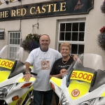 Mike and Marion Harris with Blood Bikes Joanne and Jo-Jo donated in memory of their daughter Joanne Harris.