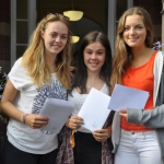 Millie Peach, Ella Rees and Isobel Short celebrate their GCSE results.