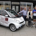 Newport Nocturne organiser, Michael Jeggo, Newport deputy mayor and member of Newport Cycling Club, Tim Nelson, and Caroline Anderson of Nock Deighton, with the race lead car.