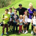 Lisa and Mark Shervill with junior members at The Shropshire Golf Centre.