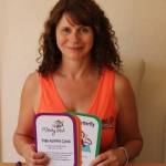 Michele Burton, founder of Mitchy Titch with the yoga cards.