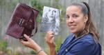Pictured is Hendra House care manager Lindsay Giess with the Kate Moss bag.