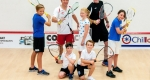 England player and Shropshire County Squash champion Courtney Downing (left) and County Racketball Champion Mervyn Davies with junior members.
