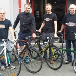 Stan's Cycles staff Simon Morris, Mike Jones, Ewan Caird and Vince Evans getting ready for National Cycle to Work Day.