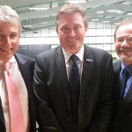 Dave Courteen, centre, managing director of The Shrewsbury Club, with, left, television presenter John Inverdale and, right, Michael Downey, the chief executive of the LTA.