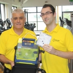 Roy Tivey and Ian Martin with the defibrillator at Oakengates Leisure Centre