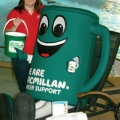 Jo Burton (Leisure Manager for both Revive and Ramada) celebrates with Muggy the Macmillan Cancer Support mascot