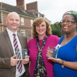 Award winners Mr John Clarke, Social Telecoms CIC and Ms Marcia Ore, Prince's Trust, photographed with Severnside Housing Chief Executive, Sarah Boden (centre)