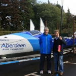 Jim Mostyn, left, with Steve Harpin and the boat Steve and his team-mates will use for the World Record bid
