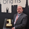 Commercial Manager, Ted Coxon is pictured in Origins, celebrating the restaurant's first birthday
