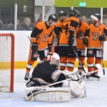 The tigers celebrate scoring against Milton Keynes