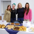 Rachel Brookes Helen Foster Antonia Evans and Nicola Davies with British themed pastries and cakes