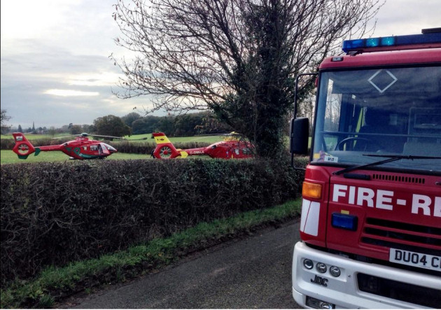 Shropshire Fire and Rescue Service at the scene along with two air ambulances. Photo: @SFRSWellington