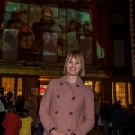 Kirsten Henly, Shrewsbury BID Manager, watches the new film which was projected onto Shrewsbury Museum and Art Gallery