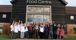 Staff celebrate outside the Ludlow Food Centre