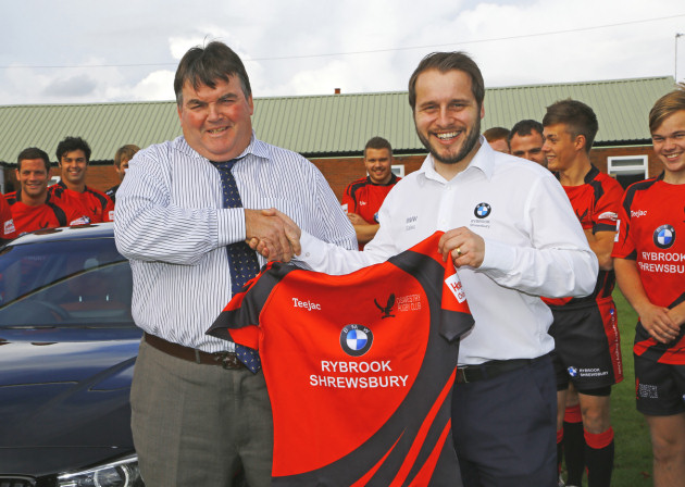Rybrook Shrewsbury sales manager Matt Aston (RIGHT) with rugby club chairman Don Howell
