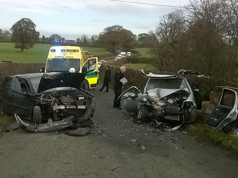 The Scene of the collision on the Baschurch Road. Photo: West Midlands Ambulance Service.