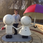Andrea Amis, Advanced Nurse Practitioner at the Shropshire Urgent Care Centre, with the bandaged-up sculpture