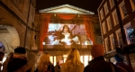 Projection of Shrewsbury BID's Christmas Video on the Museum and Art Gallery. Photo:  Richard Wilkinson Photography