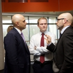 Sajid Javid MP chats with Rollo Rigby of Severn Partnership and Chris Taylor from Connecting Shropshire